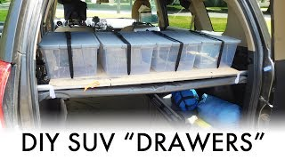 """DIY """"Drawers"""" for an SUV – SUV Camping/Vandwelling Gear Storage"""