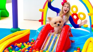 Maggie and Shanti Pretend Play with Giant Inflatable Swimming Pool for kids