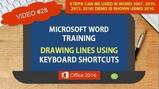 DRAWING LINES KEYBOARD SHORTCUTS | WORD 2007 2010 2013 2016 TIPS TRICKS SHORTCUTS #28