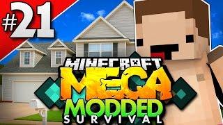 Minecraft MEGA Modded Survival #21 | NAKED GUY OUTSIDE MY HOUSE!? | Minecraft Mod Pack
