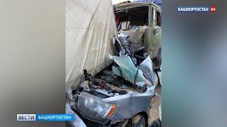 Раздавило между фурами: появилось видео с места массового ДТП под Уфой с двумя погибшими