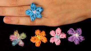 Rainbow Loom Nederlands - Flower Ring || Loom bands, rainbow loom, tutorial, how to
