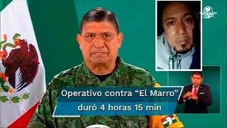 El secretario de la Defensa Nacional, Luis Cresencio Sandoval, informó se realizaron cateos simultáneos en cuatro inmuebles en el municipio de Juventino Rosas para la captura del líder del Cártel Santa Rosa de Lima
