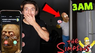 CALLING HOMER SIMPSONS ON FACETIME AT 3AM! | REAL LIFE HOMER SIMPSONS CAME TO MY HOUSE AT 3AM!