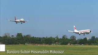 Nonton Pesawat Terbang Antri Take Off dan Landing di Makassar Bandara Sultan hasanuddin 2021