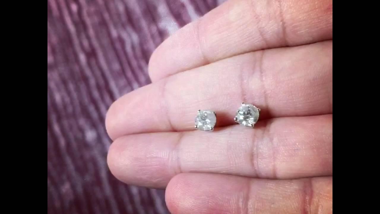 Arya Esha Custom 1 Carat (1/2 carat in each Ear) Round Brilliant ...