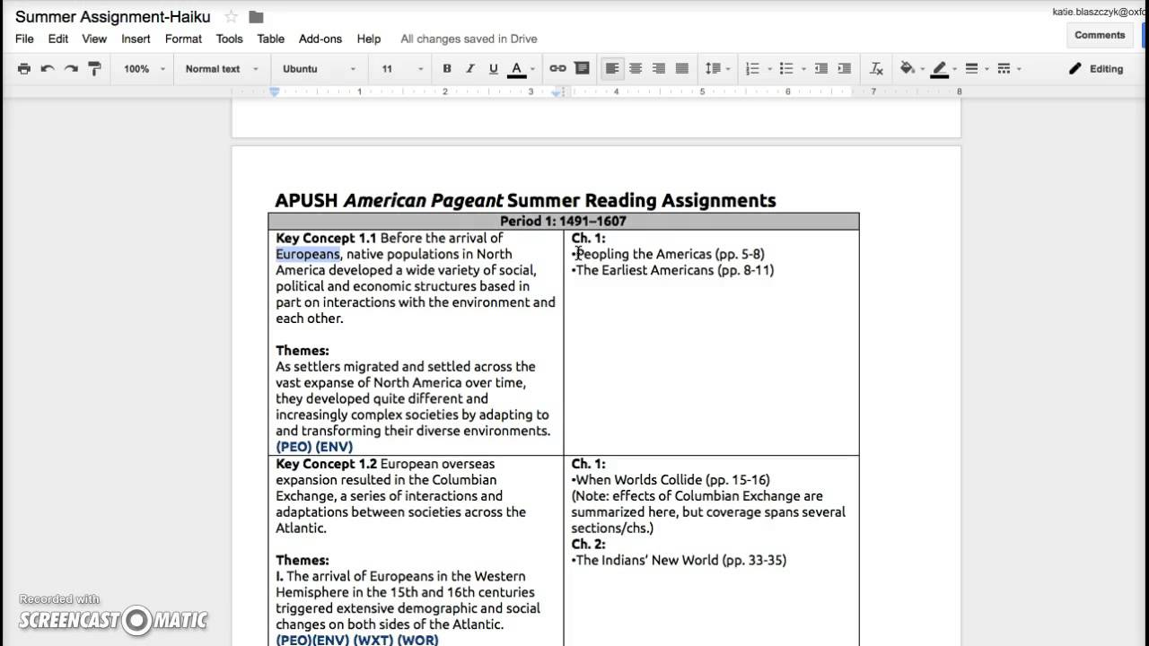 ap us summer assignment Ap us history assignment – summer 2017 part i objective: the readings selected for the apush summer assignment are from college level texts they constitute outside reading for many american history survey courses.