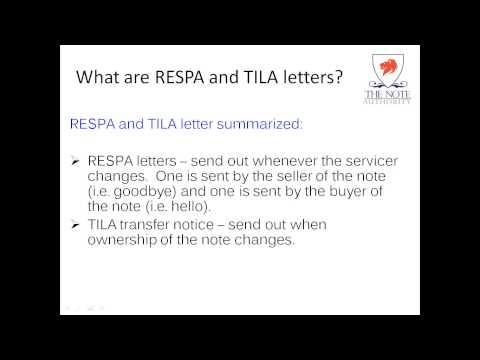 RESPA and TILA Letters Explained