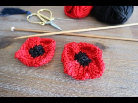 How To Knit Poppy Flowers Youtube