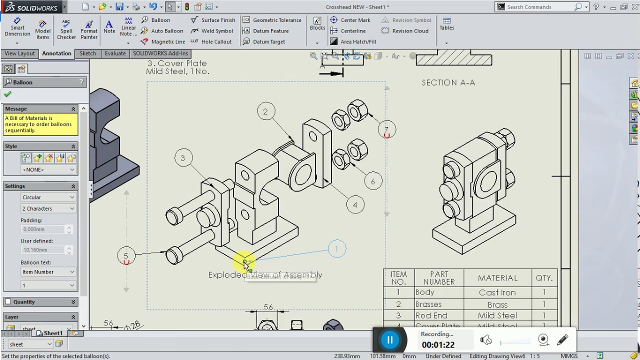 Preparation of detail assembly drawing of crosshead extension in preparation of detail assembly drawing of crosshead extension in solidworks ccuart Choice Image