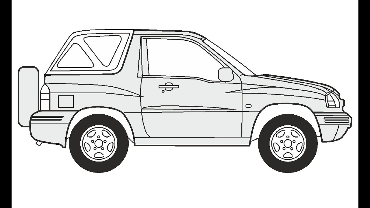 How to Draw a Suzuki Grand Vitara Cabrio / Как нарисовать
