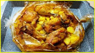 Картошка с курицей в духовке запеченная в рукаве//Простой рецепт вкусной картошки с курицей