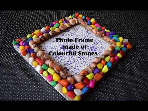 DIY PHOTO FRAME MADE OF COLOURFUL STONES