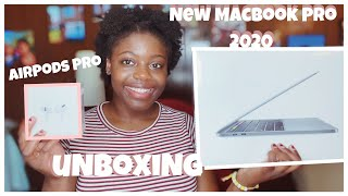 New MacBook Pro 2020 13 inch and AirPods Pro UNBOXING+SETTING UP