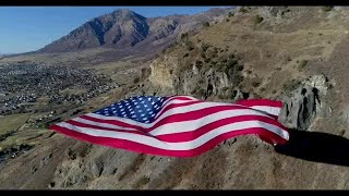 Flag flying in North Ogden Canyon in honor of Mayor Brent Taylor (Courtesy: Kyle Nordfors)