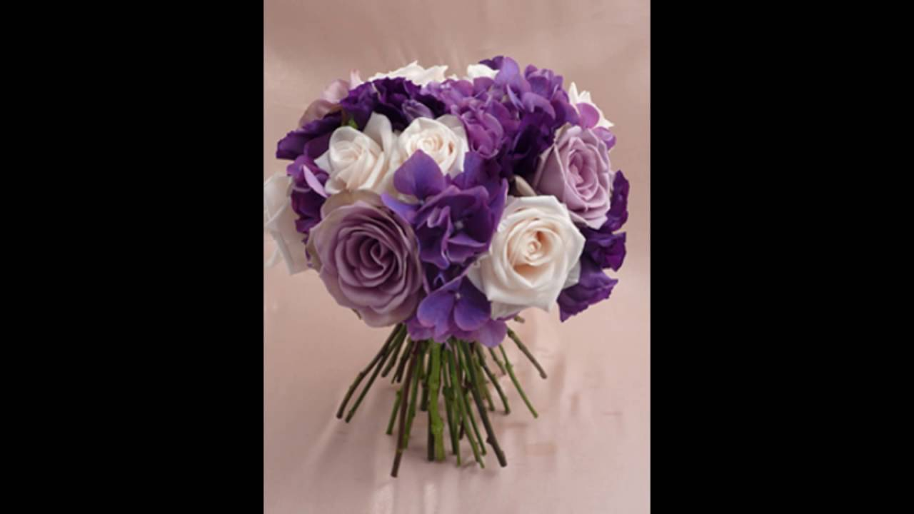 Small Purple Rose and Hydrangea Bridesmaid Bouquet - YouTube