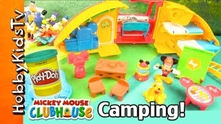 Mickey Mouse Clubhouse CAMPER Toy! Play-Doh Flood Surprise Toy Disney Minnie Goofy by HobbyKidsTV