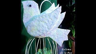 Como hacer una paloma con cartón. DIY. How to make a dove cardboard