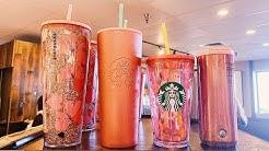 Starbucks Valentine's 2020 Cups Review FROM INSIDE STARBUCKS!! Glitter Rose Gold Starbucks Tumbler