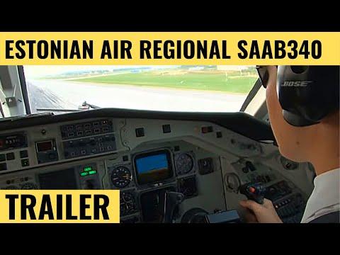 Estonian Air Regional SAAB 340 - Cockpit Video - Flightdeck Action - Flights In The Cockpit
