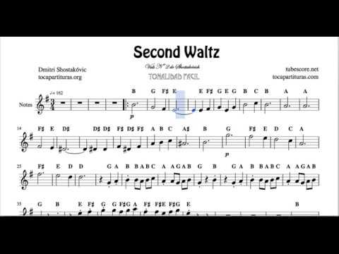 Second Waltz Nº40 by Shostakovich Easy Notes Sheet Music for Violin Flute Recorder Oboe Treble Clef