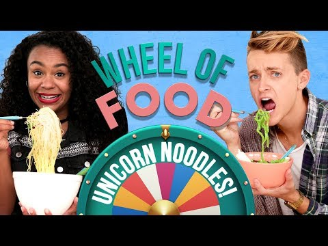 UNICORN NOODLES CHALLENGE?! Wheel of Food w/ Damon & Jo