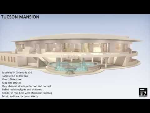 2015 Tucson mansion - low poly - Cinema4D - Marmoset Toolbag