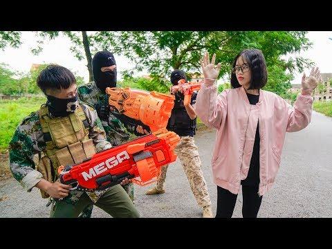 Battle Nerf War: Captain Commando Nerf Guns Robbery Group Pretty Girl Drive Car Nerf