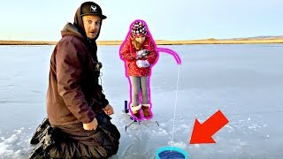 Catching BIG FISH through SKETCHY Thin Ice! (Ice Fishing 2019)