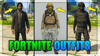 GTA 5 ONLINE - 3 AWESOME FORTNITE BATTLE ROYALE OUTFIT/SKINS IN GTA ONLINE! (MODDED OUTFITS 1.43)