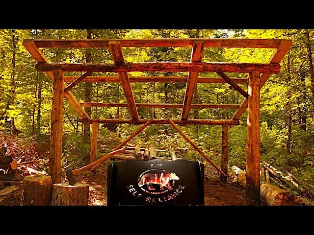 Bushcraft Super Shelter Style Wood Shed | Deer Meat for Dinner BBQ