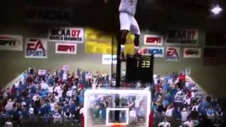Crazy hops!  Weird Glitch in March Madness.  Dude literally jumps out of the gym!!!!