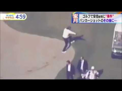 Japanese Prime Minister falls into a  banker and can't get up when he played with President Trump