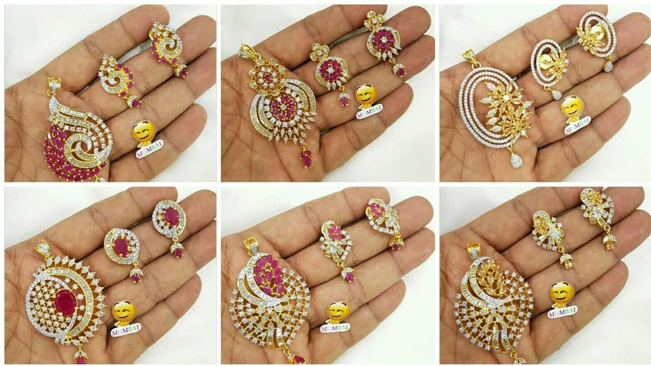 Latest diamond pendant set designs ideasgold pendant with latest diamond pendant set designs ideasgold pendant with earrings designdaily wear gold jewellery mozeypictures Gallery