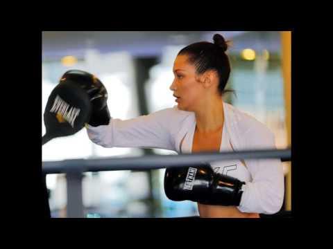 Bella Hadid at Gotham Gym in Manhattan.