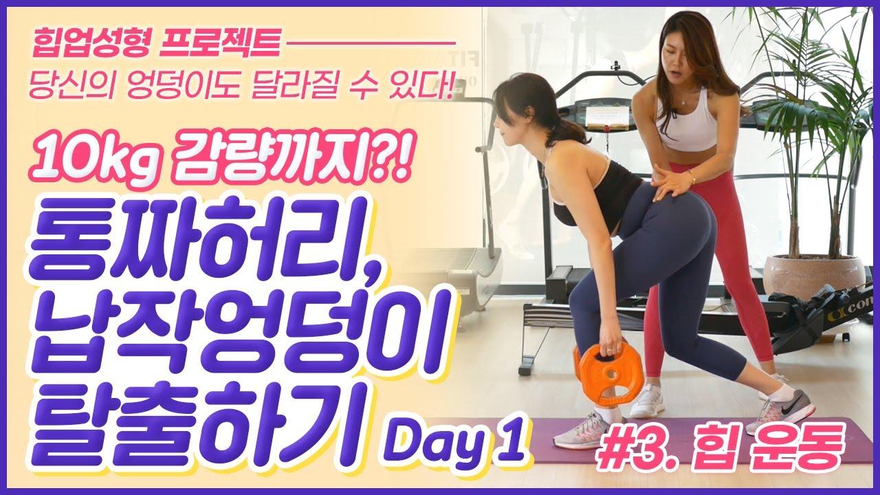 (힙업 성형 프로젝트) 통짜허리+납작엉덩이 탈출+10kg 감량하기 리얼 개인PT - 힙운동 편