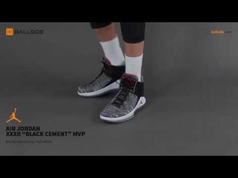 fdeaab9f827 Air Jordan XXXII Black Cement MVP on feet - YouTube