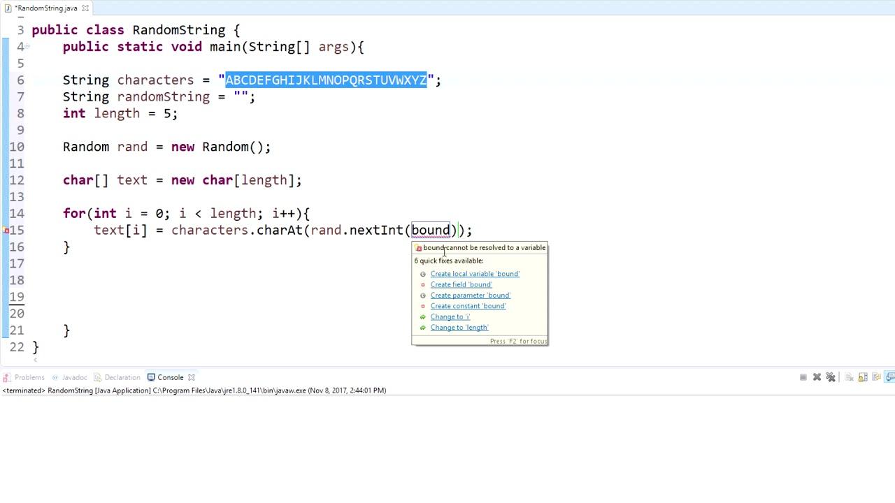 Random String Generator Java
