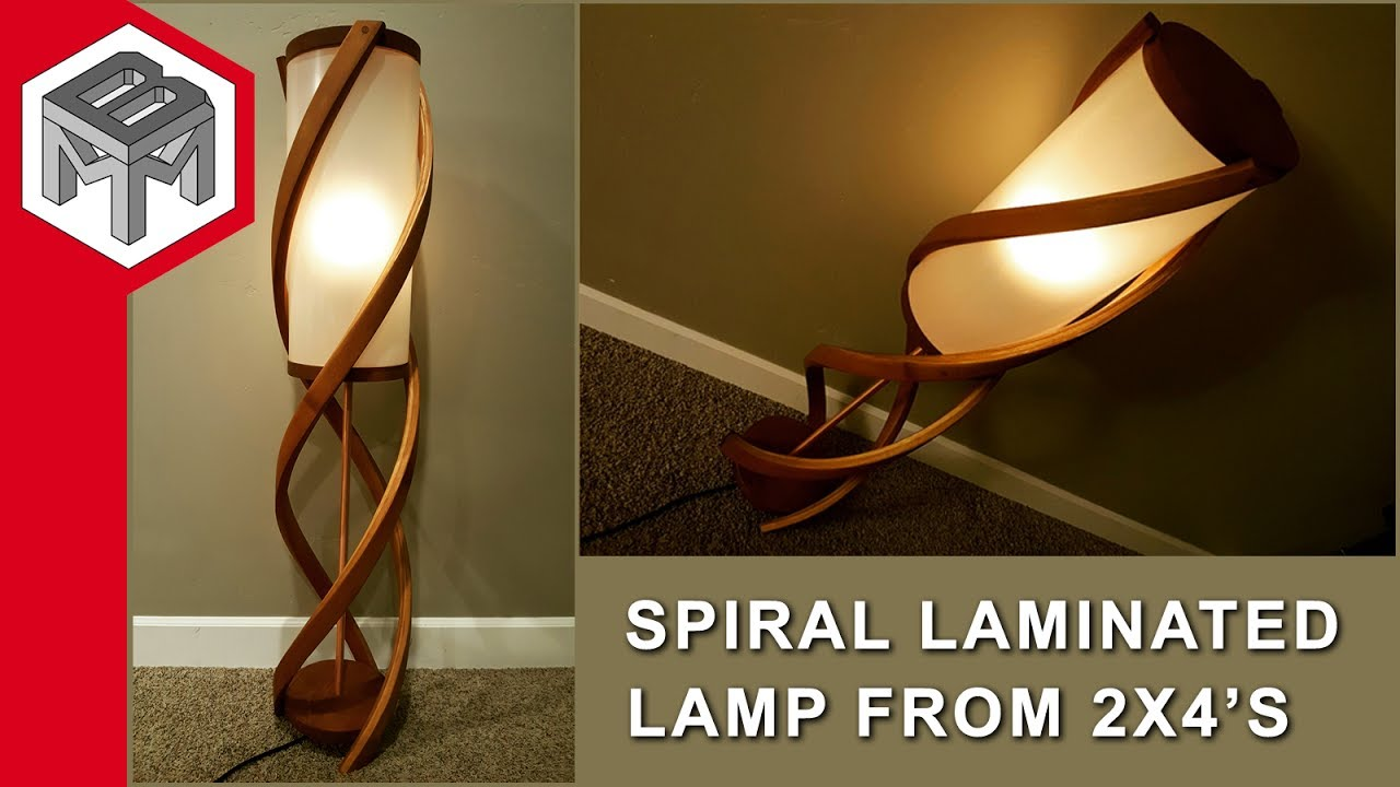 Laminated Cedar Spiral Lamp From Two 2x4u0027s