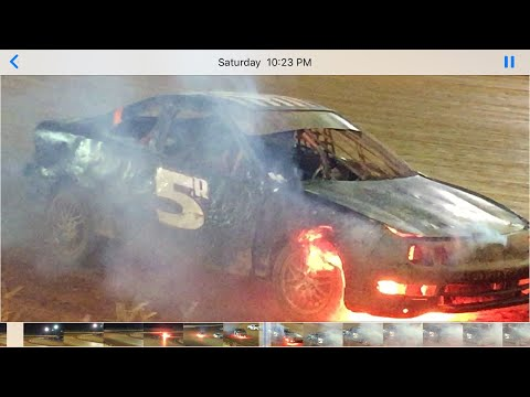 Some racing action from Carolina Speedway 7-21-19. Thunder Bombers. Late Models & FWD. Car goes up in flames. Gerraldfarms. - dirt track racing video image