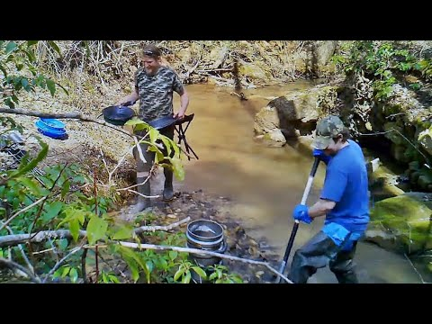 Upstate South Carolina Gold Prospecting - Panning And BGT Sluice DIY Homemade Bucket Classifier SC