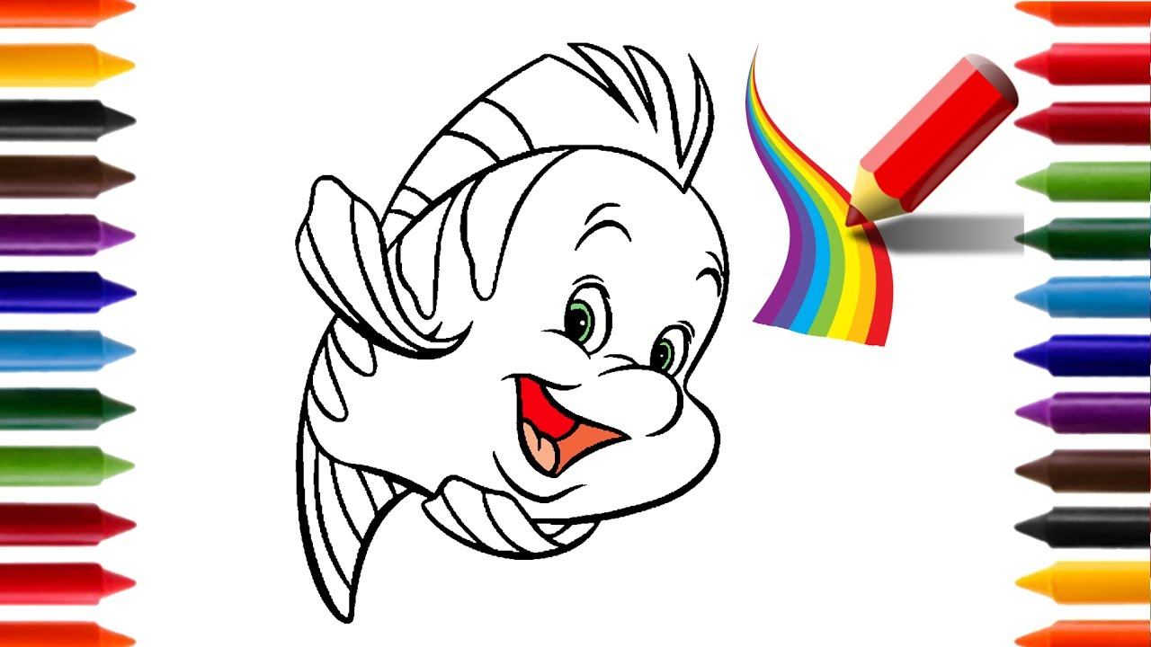 Aprendendo A Desenhar E Colorir O Peixe Linguado Pequena