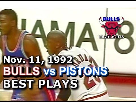 November 11 1992 Bulls vs Pistons highlights
