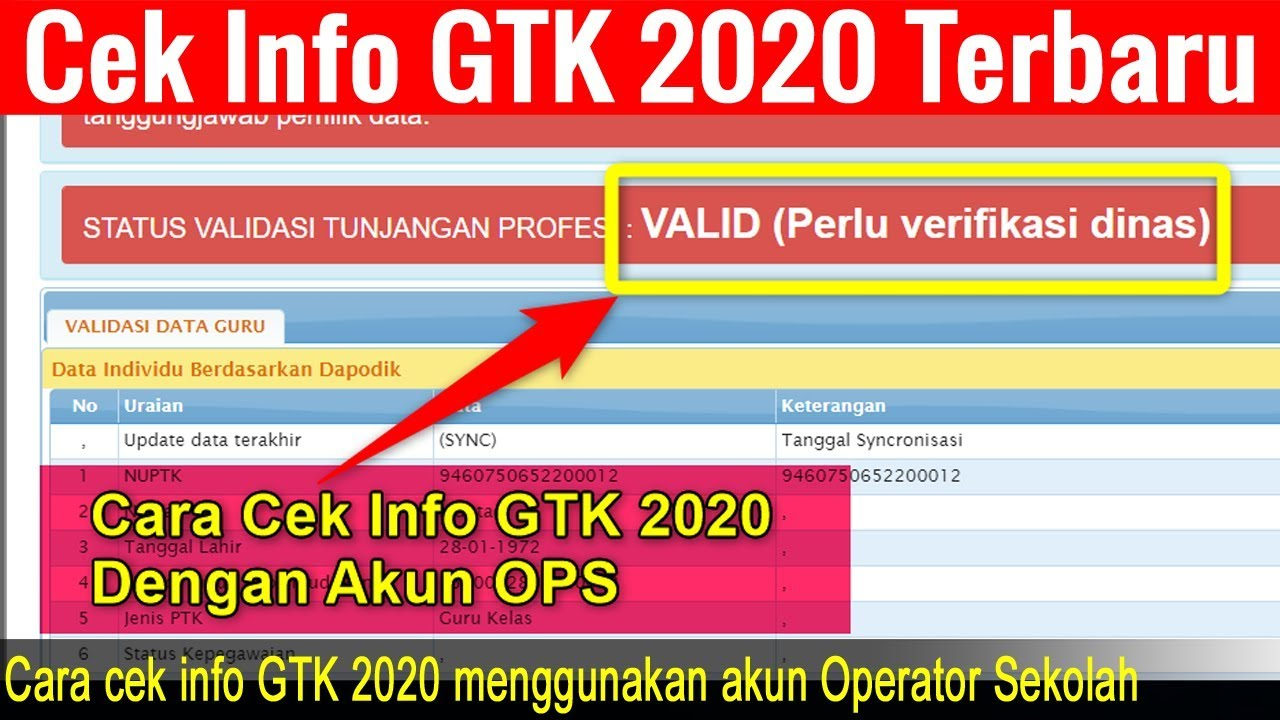 Cara Cek Info Gtk 2020 Menggunakan Akun Operator Sekolah Youtube