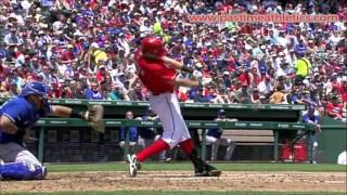 Ian Kinsler Slow Motion Baseball Swing - Hitting Mechanics Instruction Texas Rangers MLB