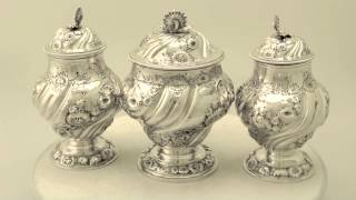 Sterling Silver Tea Canister Set By Samuel Taylor - Antique George Ii - Ac Silver (w8968)