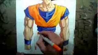 how to draw son goku using copic markers