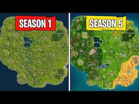 Evolution Of The Fortnite Map (Season 1 - Season 5)
