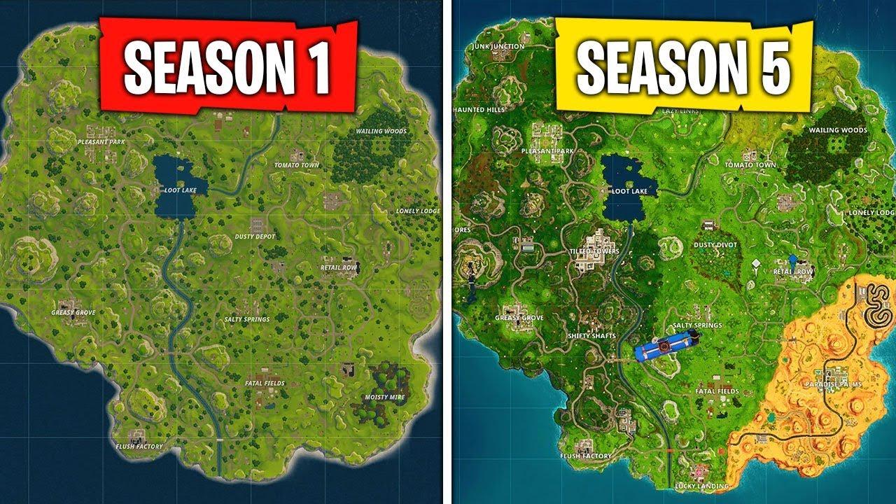 Evolution of the Fortnite Map (Season 1 - Season 5) - YouTube