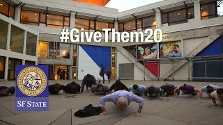 President Les Wong and student veterans answer Golden Gate University President David Fike's challenge to do 20 pushups and raise awareness for veterans issues as part of the #GiveThem20 campaign.